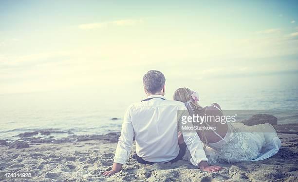 Romantic wedding couple on the beach.