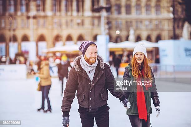 romantic winter vacation - スケート ストックフォトと画像