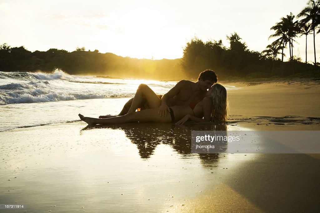 Romantic Young Couple at Sunset : Stock Photo