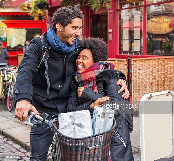 Romantic Young Couple Christmas Shopping in Temple Bar Dublin Ireland