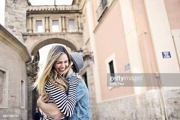 romantic young couple hugging, valencia, spain - valencia spain stock pictures, royalty-free photos & images
