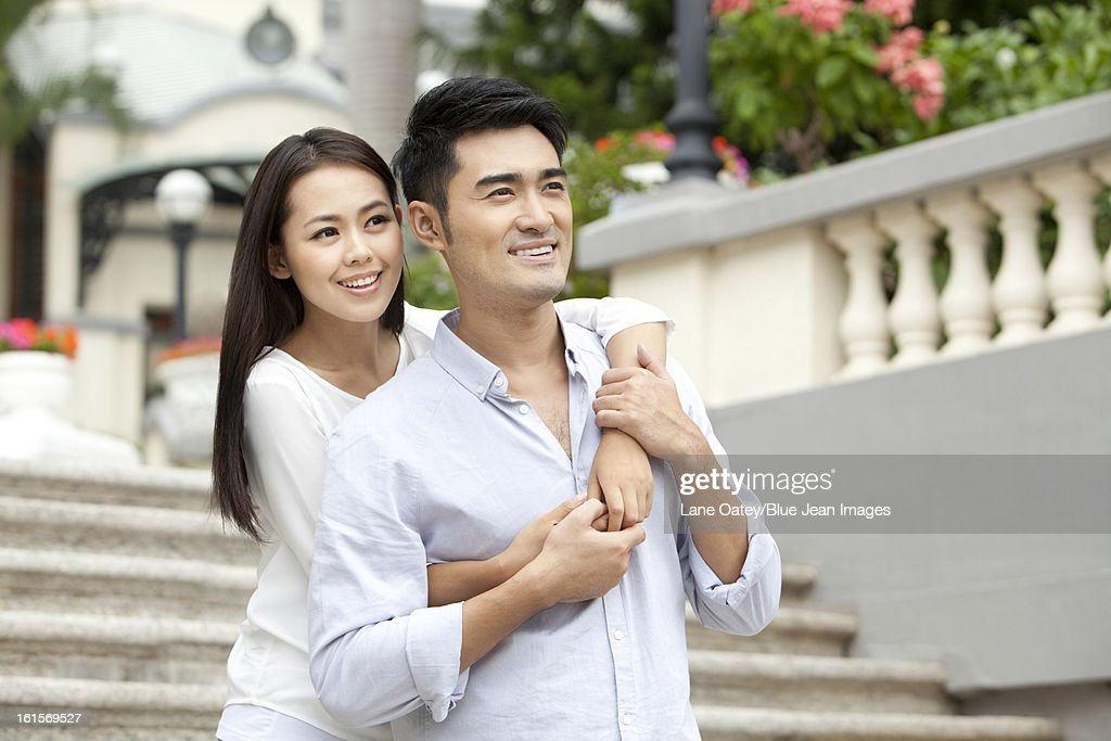 Romantic young couple travelling in Hong Kong : Stock Photo