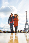 Romantic Young Couple With The Eiffel Tower in Paris