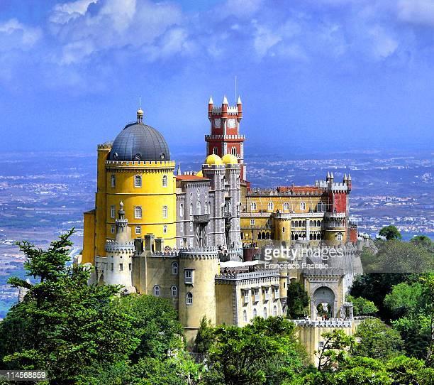 romanticism in castle architecture - lisbon stock pictures, royalty-free photos & images