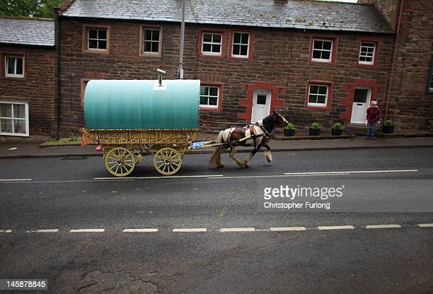A romany caravan makes it's way to Fair Hill for the Appleby Horse Fair on June 7 2012 in Appleby England Appleby Horse Fair has existed under the...