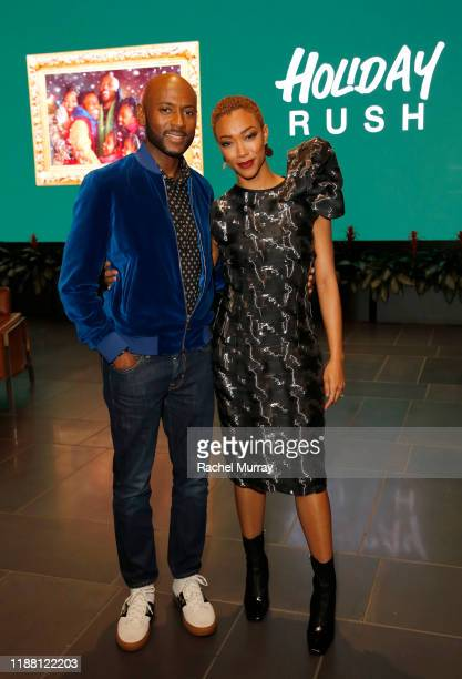 Romany Malco and Sonequa Martin-Green attend the Netflix 'Holiday Rush' Cast & Crew Screening at NETFLIX on November 16, 2019 in Los Angeles,...