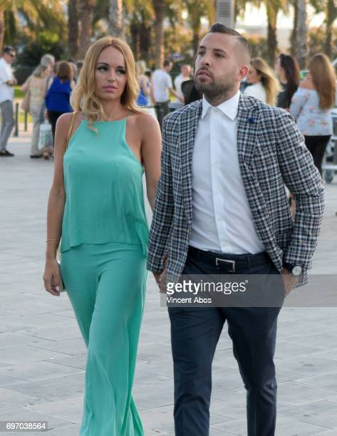 Romarey Ventura and Jordi Alba are seen arriving at the Hotel W on June 17 2017 in Barcelona Spain