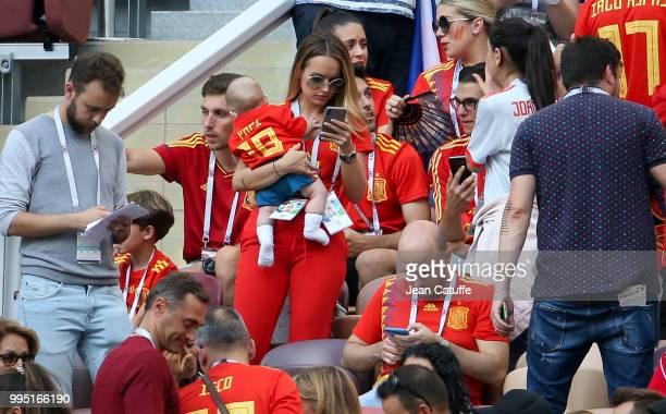 Romarey Ventura wife of Jordi Alba of Spain holding their son Piero Alba during the 2018 FIFA World Cup Russia Round of 16 match between Spain and...