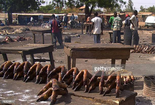 Various edible animal body parts from goats sheep and cows are ondisplay at the Sin Yiti market 22 August 2007 in Ouagadougou AFP PHOTO / STR