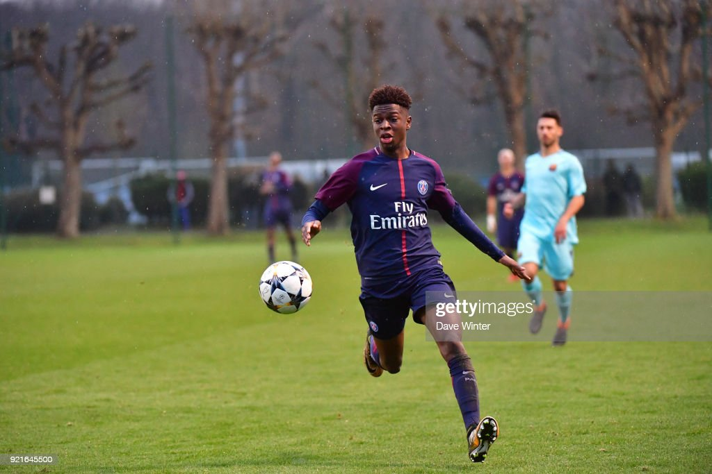 Romaric Yapi of PSG during the UEFA Youth League match (round of 16) between Paris Saint Germain (PSG) and FC Barcelona, on February 20, 2018 in Saint Germain en Laye, France.