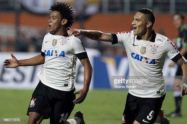Romarinho and Guerrero of Corinthians celebrates a score goal during the match between Corinthians and San Jose as part of the Bridgestone...