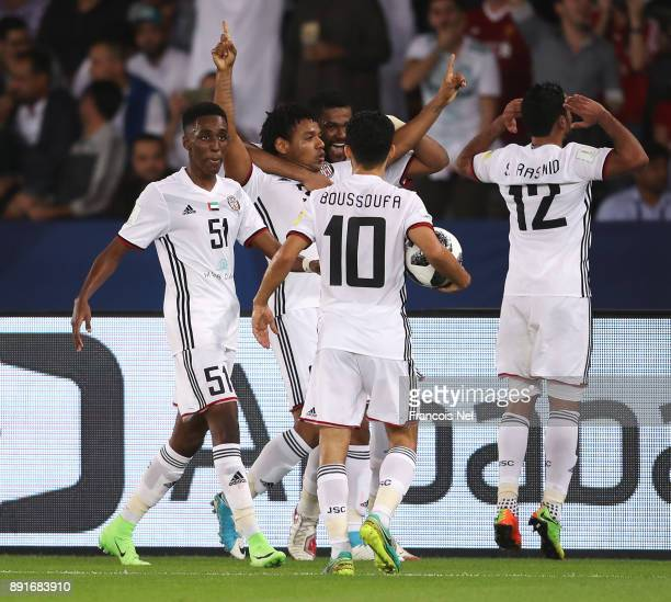 Romarinho of Al Jazira celebrates after scoring his sides first goal with his Al Jazira team mates during the FIFA Club World Cup UAE 2017 semifinal...