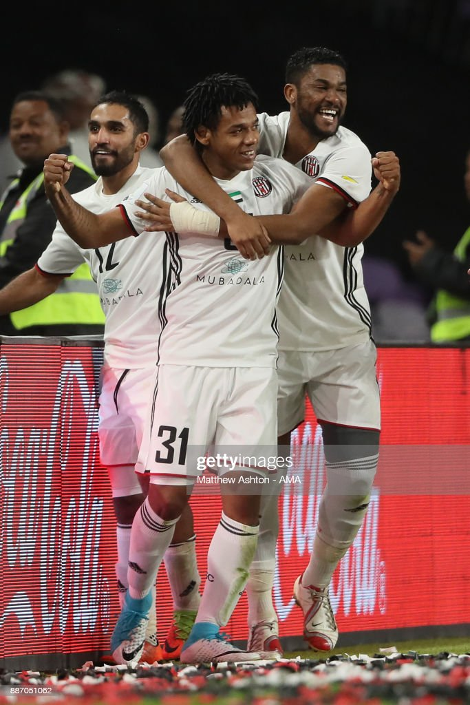Romarinho of Al Jazira celebrates scoring a goal to make the score 1-0 during the FIFA Club World Cup UAE 2017 play off match between Al Jazira and Auckland City FC at Hazza bin Zayed Stadium on December 6, 2017 in Al Ain, United Arab Emirates.