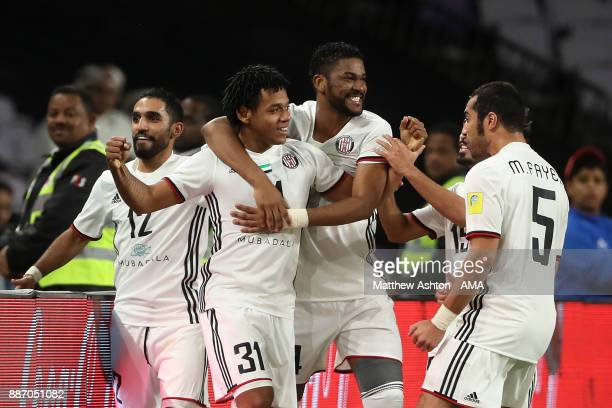 Romarinho of Al Jazira celebrates scoring a goal to make the score 10 during the FIFA Club World Cup UAE 2017 play off match between Al Jazira and...