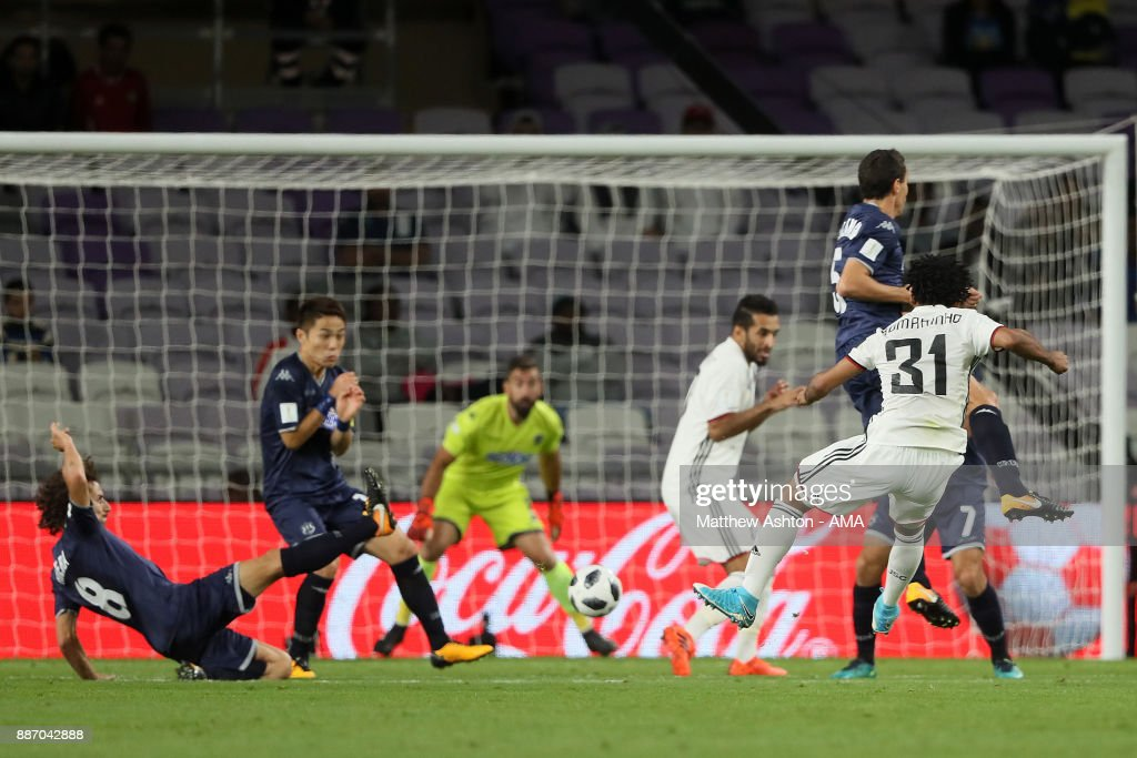 Romarinho of Al Jazira scores a goal to make the score 1-0 during the FIFA Club World Cup UAE 2017 play off match between Al Jazira and Auckland City FC at Hazza bin Zayed Stadium on December 6, 2017 in Al Ain, United Arab Emirates.