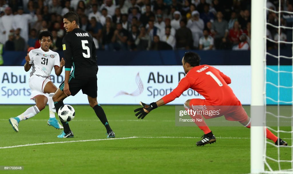 Romarinho of Al Jazira scores his sides first goal during the FIFA Club World Cup UAE 2017 semi-final match between Al Jazira and Real Madrid on December 13, 2017 at the Zayed Sports City Stadium in Abu Dhabi, United Arab Emirates.