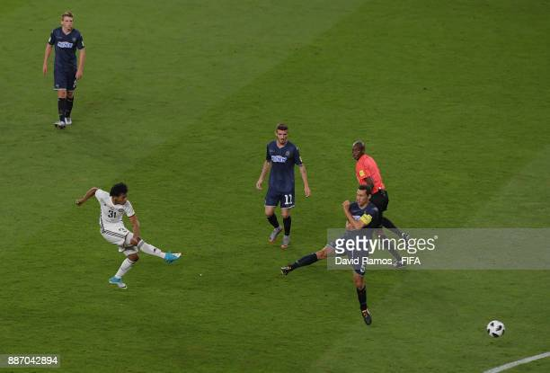 Romarinho of AlJazira scores his sides first goal during the FIFA Club World Cup UAE 2017 play off match between Al Jazira and Auckland City FC at on...