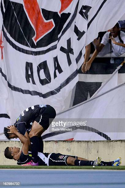 Romario and Bernardo of Vasco celebrate ascored goal against Fluminense during the match between Fluminense and Vasco as part of Carioca Championship...