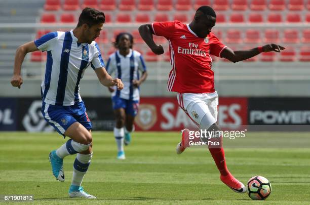 Romario Balde of SL Benfica B with Jorge Fernandes of FC Porto B in action during the Segunda Liga match between SL Benfica B and FC Porto B at Caixa...