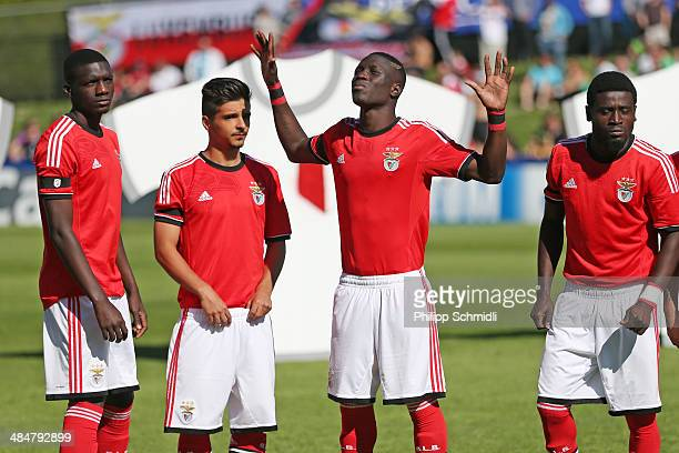 Romario Balde of SL Benfica gestures prior to the UEFA Youth League Final match between Benfica Lisbon and FC Barcelona at Colovray Stadion on April...