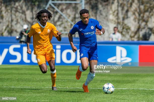 Romario Baro of FC Porto vies with Callum Hudson-Odoi of Chelsea FC during the semi-final football match between Chelsea FC and FC Porto of UEFA...