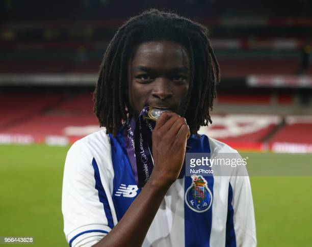 Romario Baro of Porto FC with his winning medal After Premier League International Cup Final match between Arsenal Under 23 against Porto FC at...