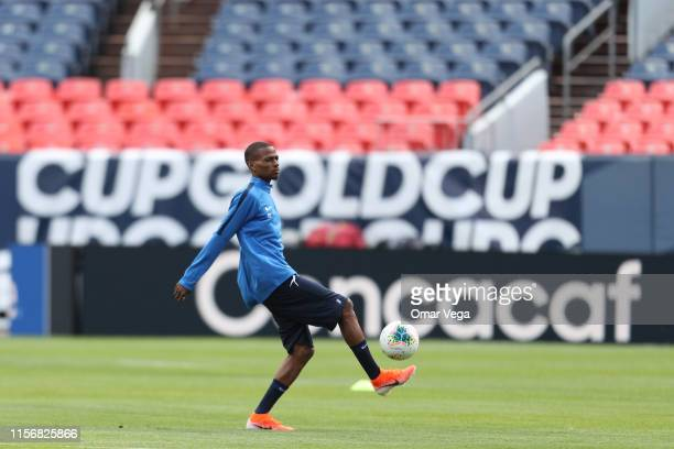 Romario Barthelery of Martinique warms up during the training session of Martinique at Broncos Stadium on June 18 2019 in Denver Colorado