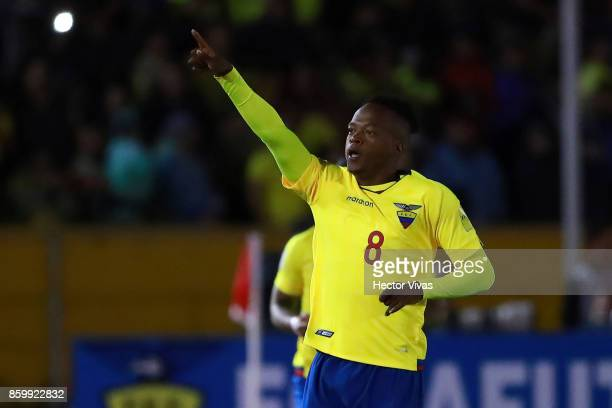 Romario Ibarra of Ecuador celebrates after scoring the first goal of his team during a match between Ecuador and Argentina as part of FIFA 2018 World...