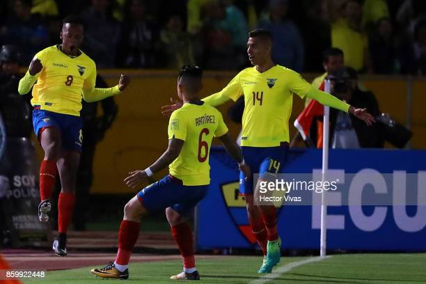 Romario Ibarra of Ecuador celebrates with teammates after scoring the first goal of his team during a match between Ecuador and Argentina as part of...
