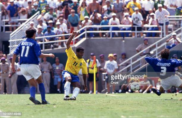 Romario of Brazil and Antonio Benarrivo of Italy during the 1994 FIFA World Cup final match between Brazil and Italy at Rose Bowl on July 17 1994 in...