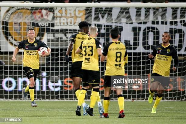 Romario Rosch of Roda JC celebrates goal during the Dutch Keuken Kampioen Divisie match between Roda JC v De Graafschap at the Parkstad Limburg...