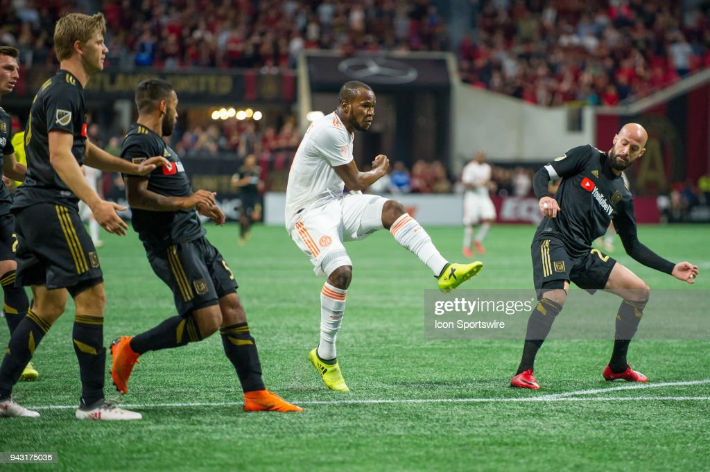 Romario Williams (9) of Atlanta United scores a goal late in the second half during a MLS match between Los Angeles FC and Atlanta United FC on April 7, 2018 at Mercedes Benz Stadium in Atlanta, GA.