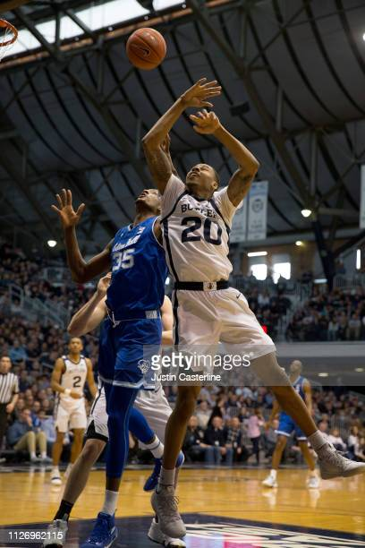 Romaro Gill of the Seton Hall Pirates and Henry Baddley of the Butler Bulldogs attempt to rebound the ball during the second half at Hinkle...