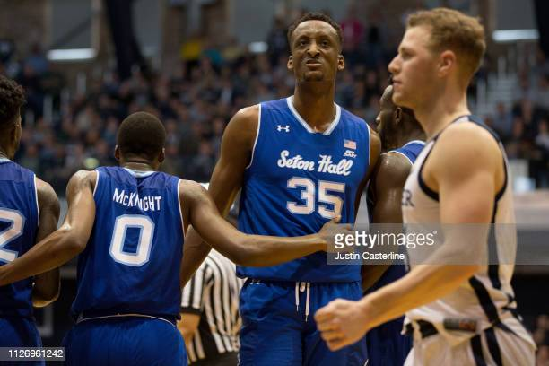 Romaro Gill of the Seton Hall Pirates reacts after a play in the game against the Butler Bulldogs during the second half at Hinkle Fieldhouse on...