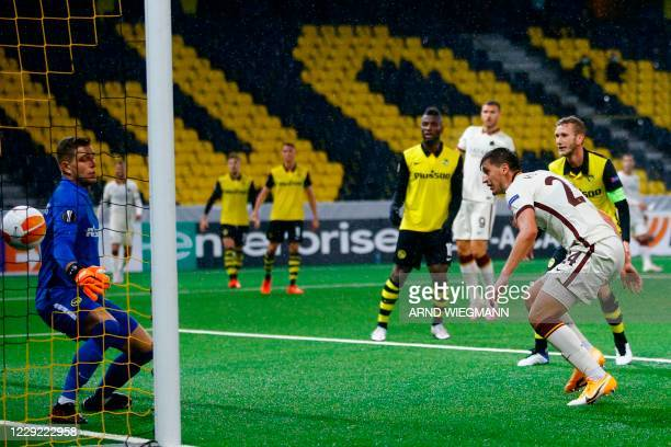 Roma's Albanian defender Marash Kumbulla heads and scores a goal during the UEFA Europa League Group A first-leg football match between Young Boys...