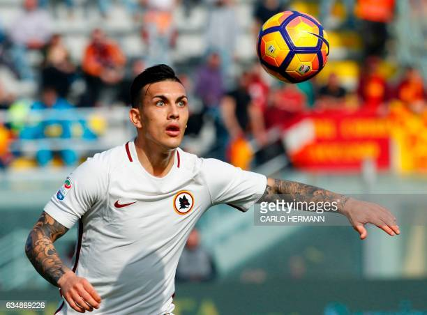 Roma's Argentinian midfielder Leandro Paredes eyes the ball during the Italian Serie A football match FC Crotone vs AS Roma on February 12 2017 at...
