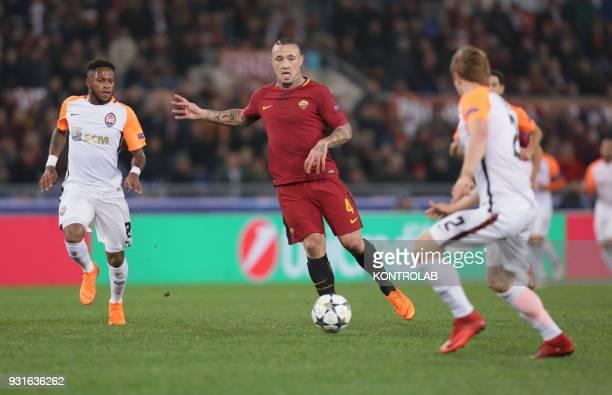 Roma's Belgian midfielder Radja Nainggolan controls the ball during the UEFA Champions League Round of 16 second leg football match AS Roma vs FC...