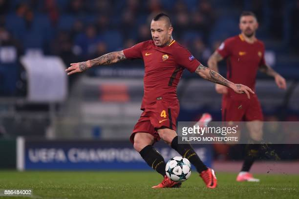 Roma's Belgian midfielder Radja Nainggolan kicks the ball during the UEFA Champions League Group C football match AS Roma vs FK Qarabag on December 5...