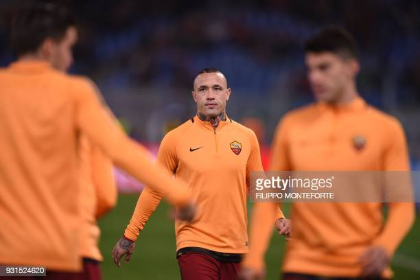 Roma's Belgian midfielder Radja Nainggolan looks on before the UEFA Champions League round of 16 second leg football match AS Roma vs Shakhtar...