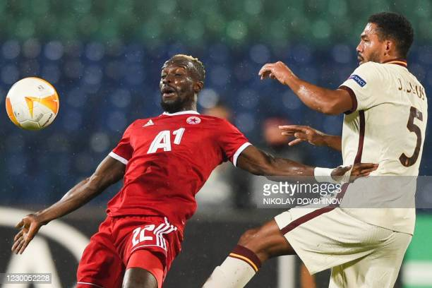 Roma's Brazilian defender Juan Jesus fights for the ball with CSKA Sofia's Gambian forward Ali Sowe during the UEFA Europa League Group A football...