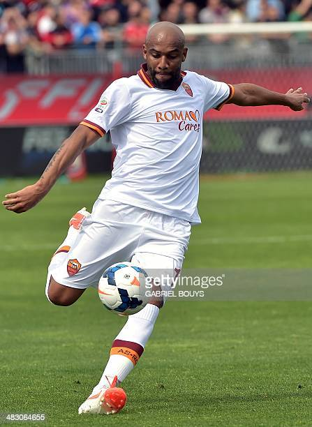 AS Roma's Brazilian defender Maicon strikes during the Italian Serie A football match between Cagliari vs AS Roma on April 6 2014 at the Stadio...
