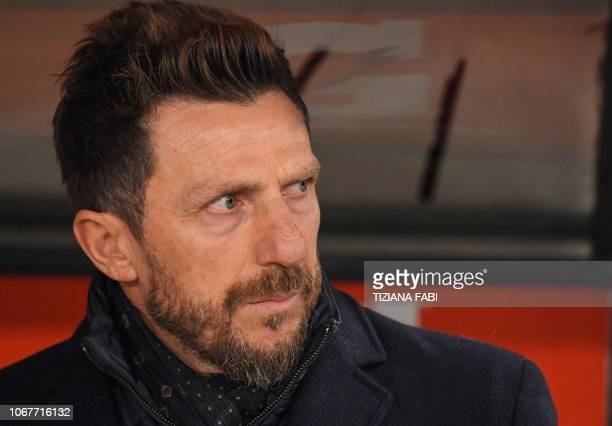Roma's coach Eusebio Di Francesco look on during the Italian Serie A football match Roma vs Inter Milan at the Olympic stadium in Rome on December 2...