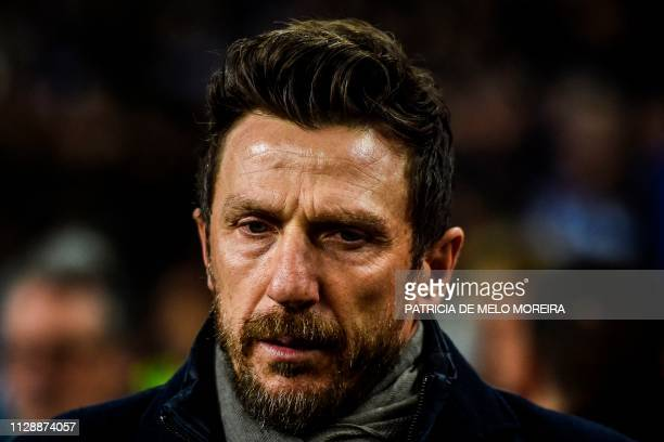 Roma's coach Eusebio Di Francesco looks on before the UEFA Champions League round of 16 second leg football match between FC Porto and AS Roma at the...