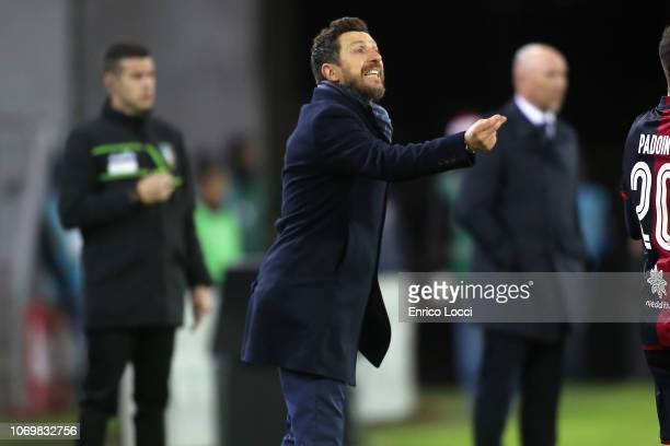 Roma's coach Eusebio di Francesco reacts during the Serie A match between Cagliari and AS Roma at Sardegna Arena on December 9 2018 in Cagliari Italy