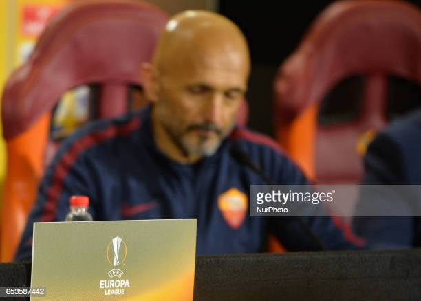 AS Roma's coach Luciano Spalletti met journalists at Trigoria in Rome before their match of the Europe League against Lione