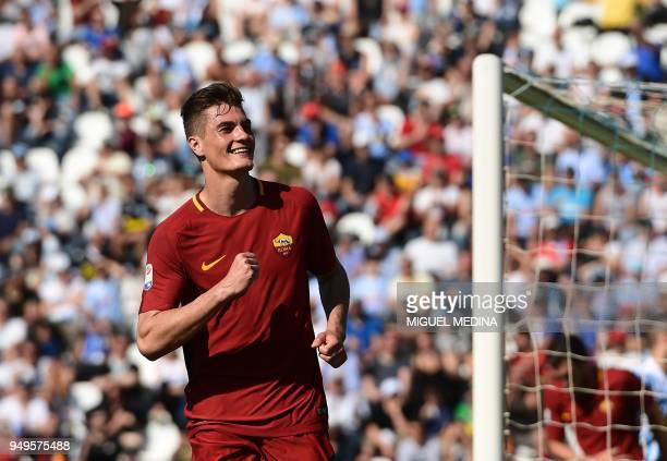 Roma's Czech forward Patrik Schick celebrates after scoring a goal during the Italian Serie A football match betweel SPAL and AS Roma at the Paolo...