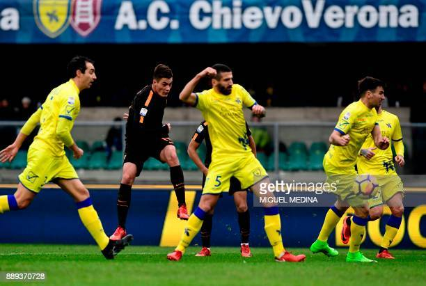 Roma's Czech forward Patrik Schick kicks the ball during the Italian Serie A football match between AC Chievo and AS Roma at the Bentegodi stadium in...