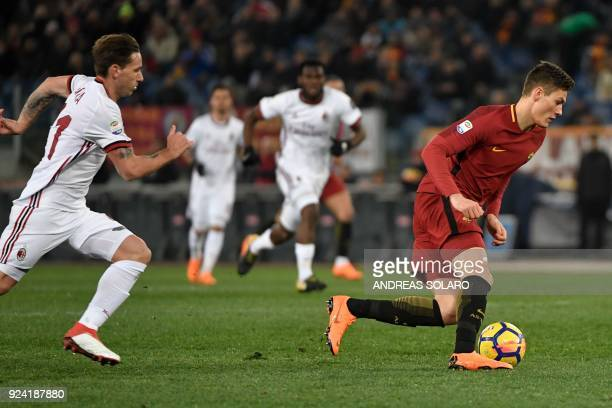 Roma's Czech striker Patrik Schick controls the ball during the Italian Serie A football match Roma versus Milan at the Olympic Stadium in Rome / AFP...