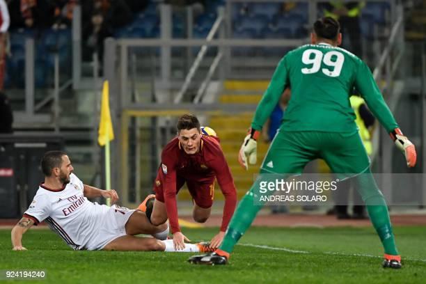 Roma's Czech striker Patrik Schick vies with AC Milan's Italian defender Leonardo Bonucci during the Italian Serie A football match Roma versus Milan...