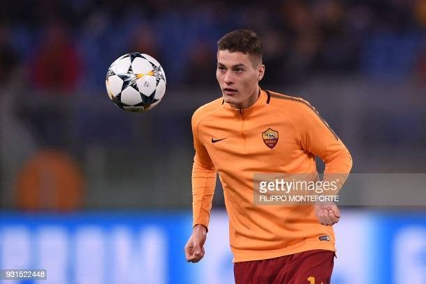 Roma's Czech striker Patrik Schick warms up before the UEFA Champions League round of 16 second leg football match AS Roma vs Shakhtar Donetsk on...